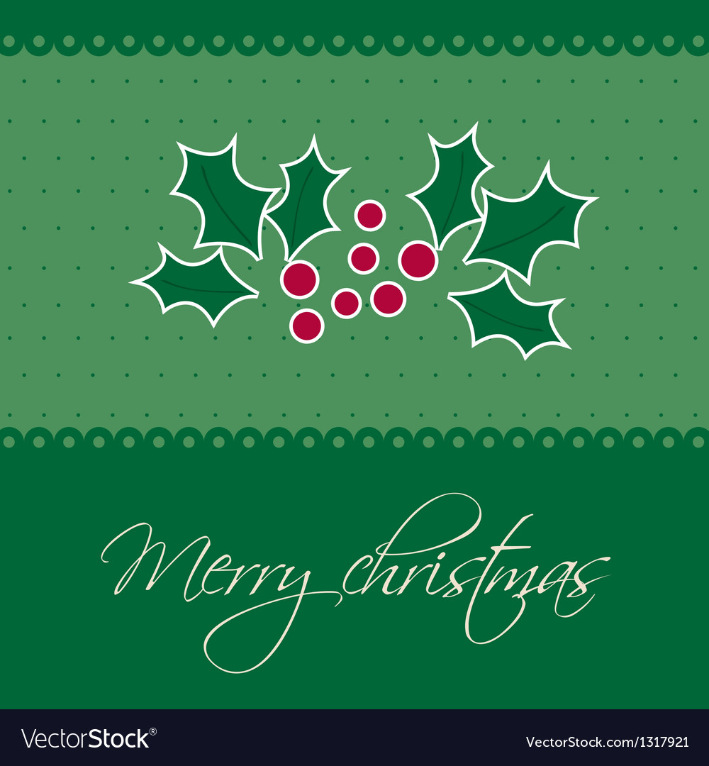 Christmas background with holly berry leaves on vector | Price: 1 Credit (USD $1)