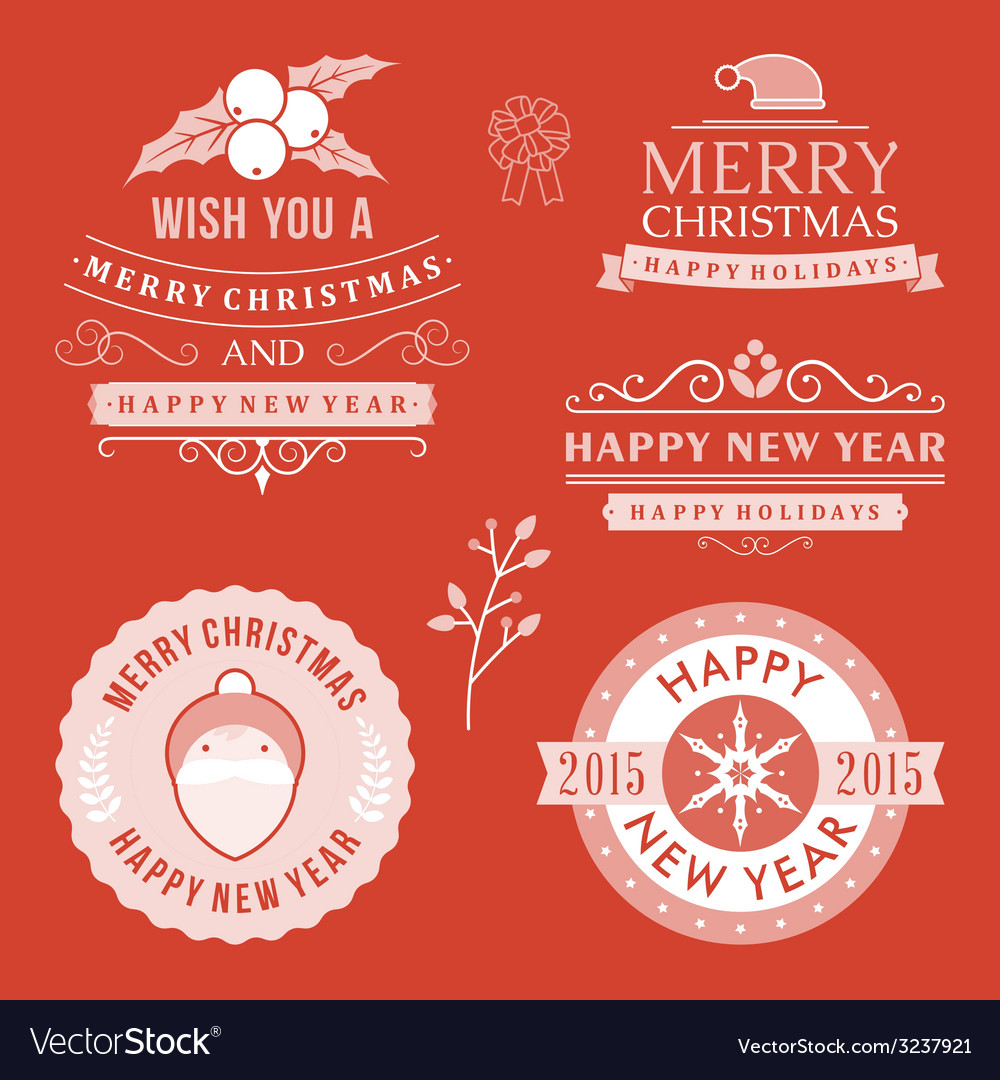 Christmas decoration set of design elements labels vector | Price: 1 Credit (USD $1)