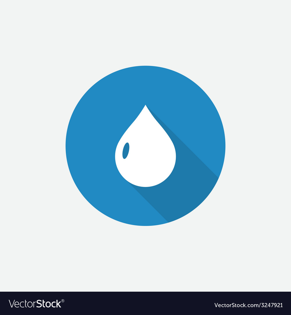 Drop flat blue simple icon with long shadow vector | Price: 1 Credit (USD $1)