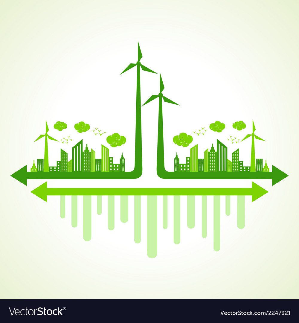 Ecology concept with wind mill vector | Price: 1 Credit (USD $1)