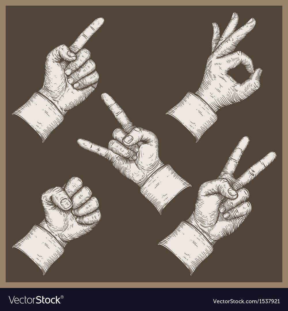 Five hands stamp vector | Price: 1 Credit (USD $1)
