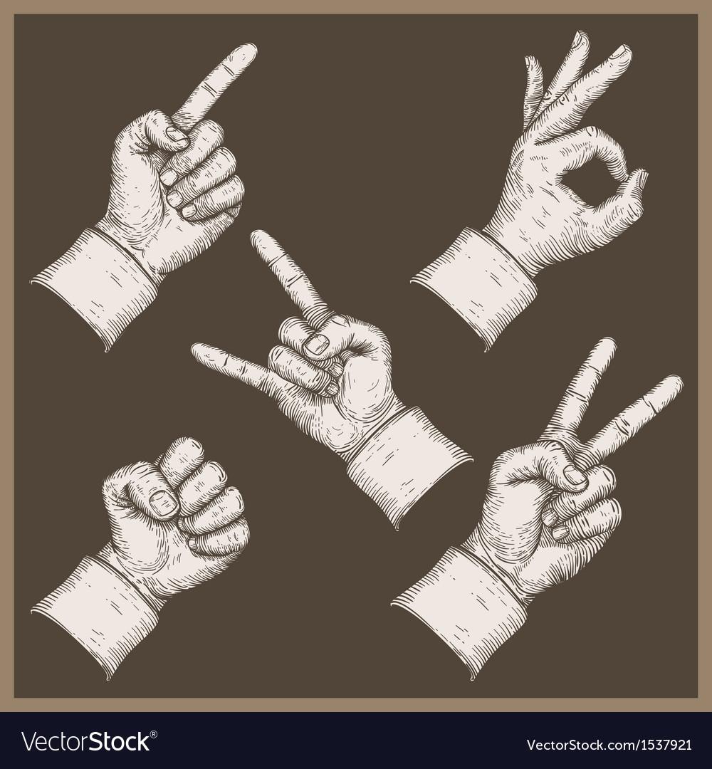 Five hands stamp vector | Price: 1 Credit (USD $1)