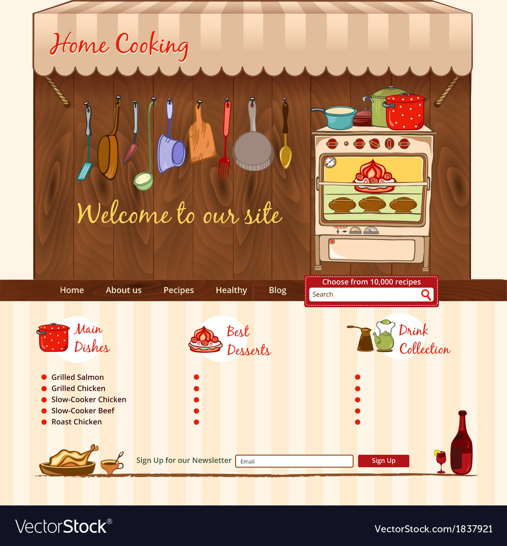 Home cooking web template vector | Price: 1 Credit (USD $1)