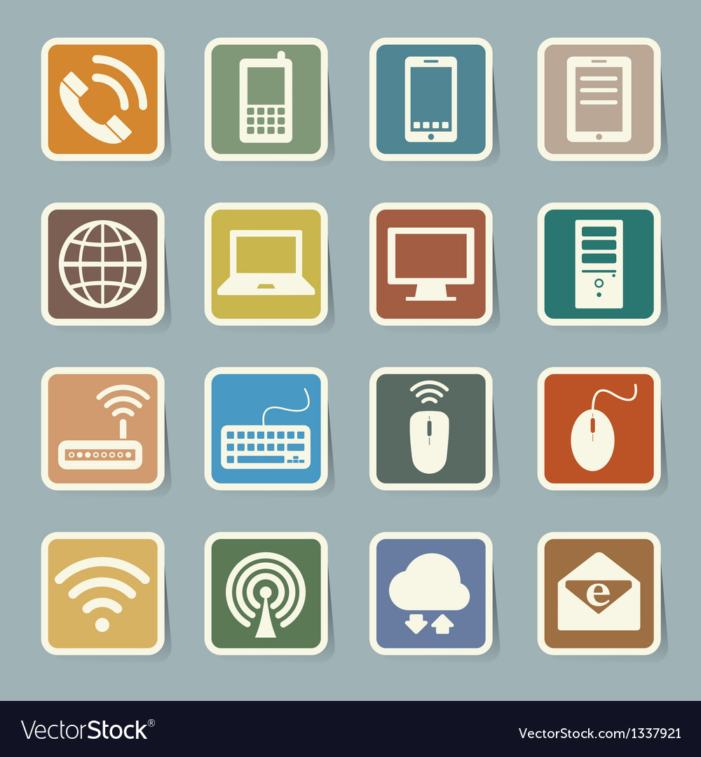 Icon set of mobile devices computer and network c vector | Price: 1 Credit (USD $1)