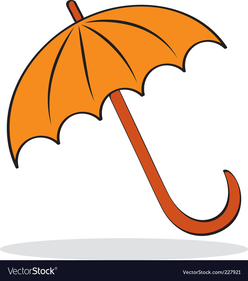 Orange umbrella with grey shadow vector | Price: 1 Credit (USD $1)