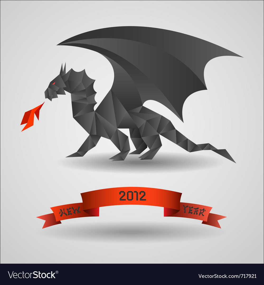 Origami black dragon - symbol of 2012 year vector | Price: 1 Credit (USD $1)