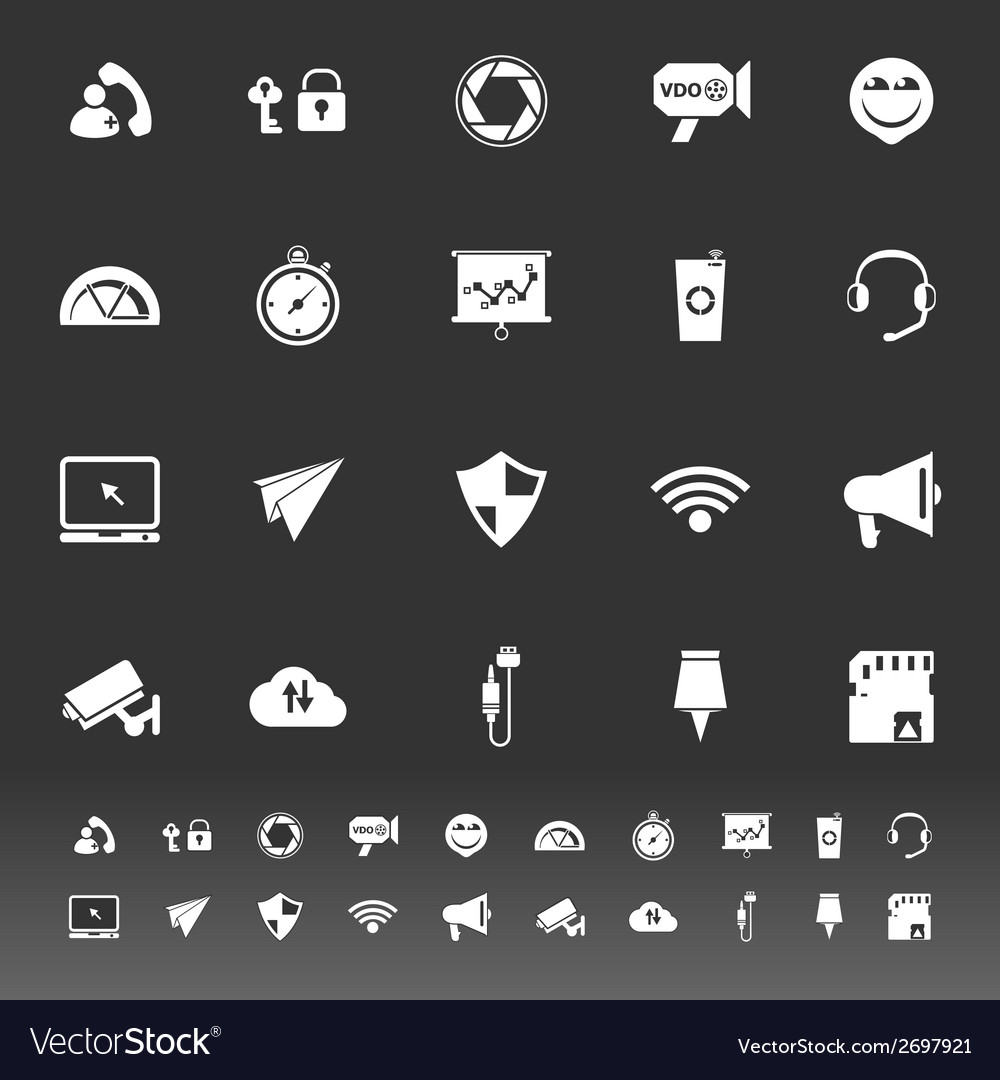 Smart phone screen icons on gray background vector | Price: 1 Credit (USD $1)