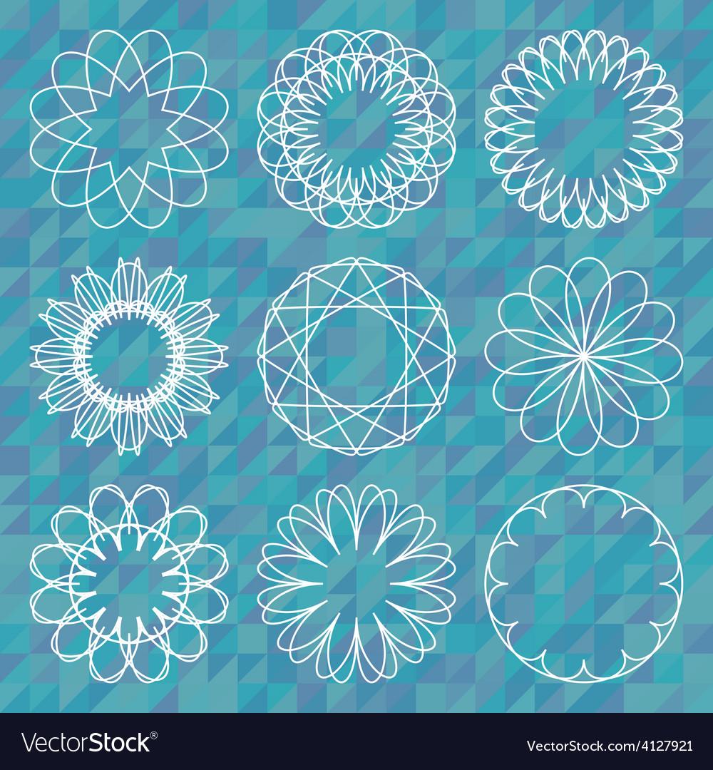 Spirograph round ornament set over polygonal vector