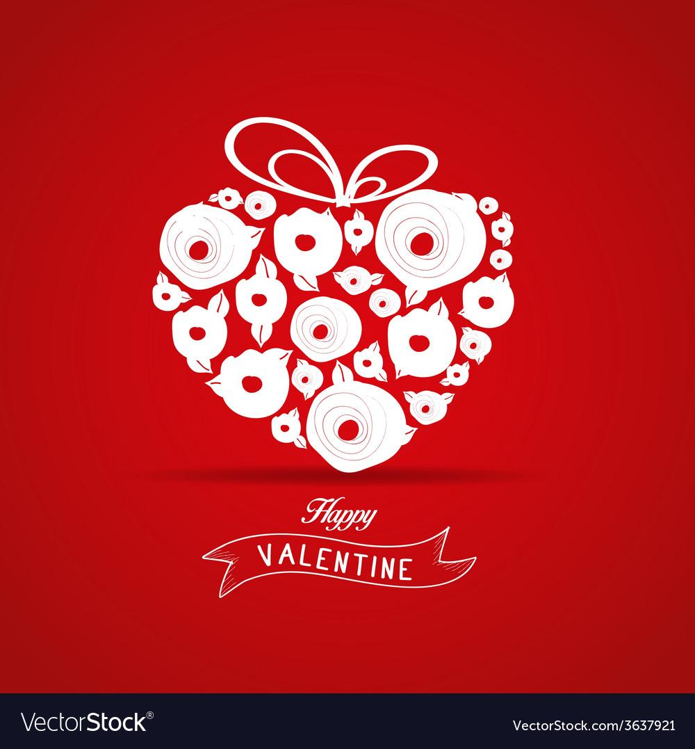 Valentines gift heart flower rose vector
