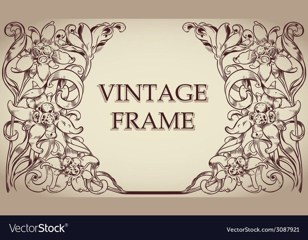 Vintage frame background vector | Price: 1 Credit (USD $1)