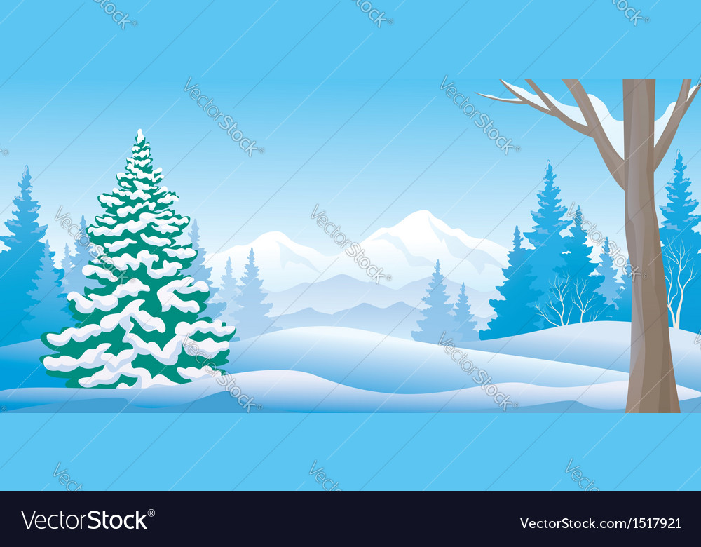 Winter day panoramic vector | Price: 3 Credit (USD $3)