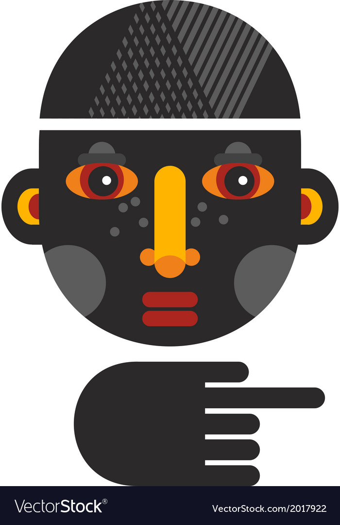 Black head man with the finger showing the way vector | Price: 1 Credit (USD $1)