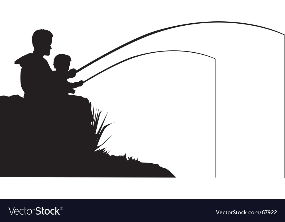Father and son fishing vector | Price: 1 Credit (USD $1)