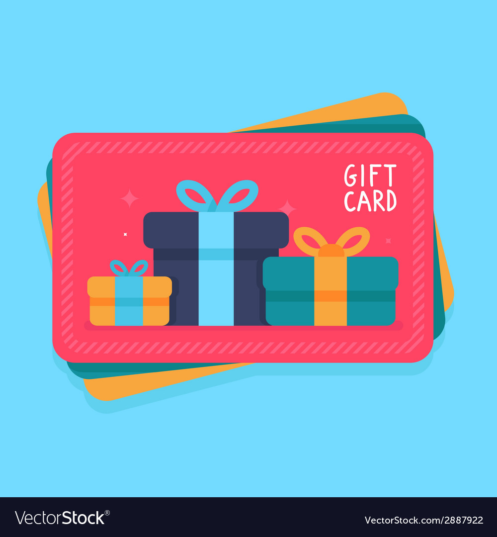 Gift card in flat style vector | Price: 1 Credit (USD $1)