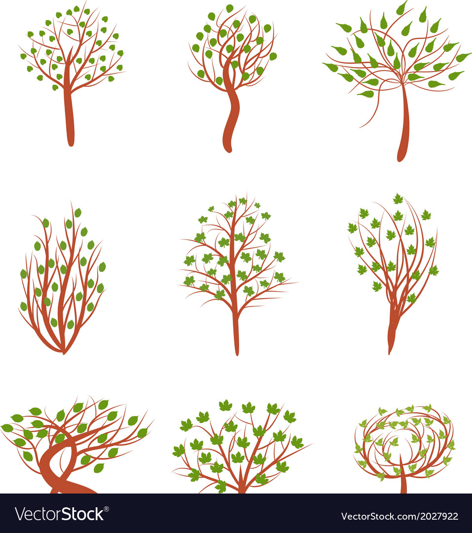 Highly detailed spring trees vector | Price: 1 Credit (USD $1)