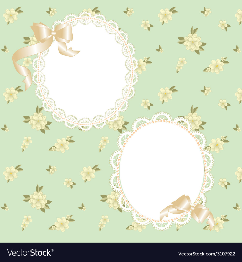 Lace frame with ribbons vector | Price: 1 Credit (USD $1)