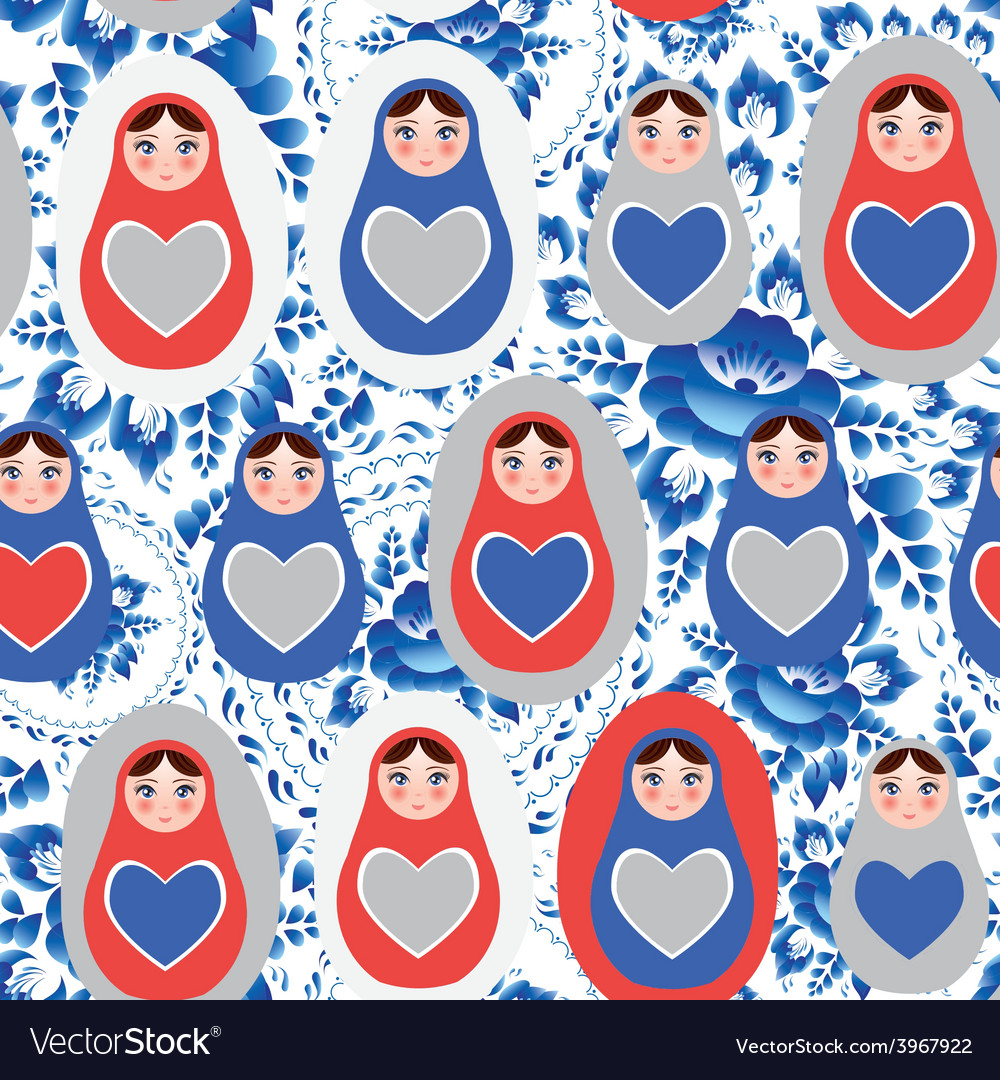 Seamless pattern blue red gray russian dolls on a vector | Price: 1 Credit (USD $1)