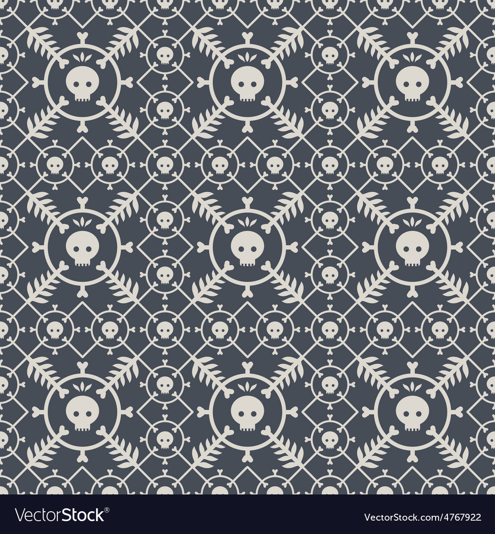 Seamless pattern with skulls and original design vector   Price: 1 Credit (USD $1)