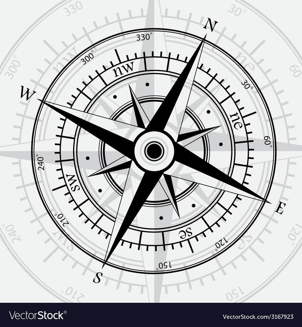 Compass white vector | Price: 1 Credit (USD $1)