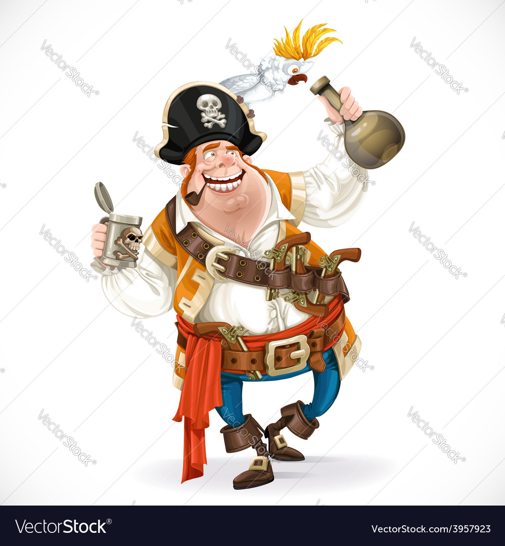 Drunken pirate with a bottle of rum and a parrot vector | Price: 3 Credit (USD $3)
