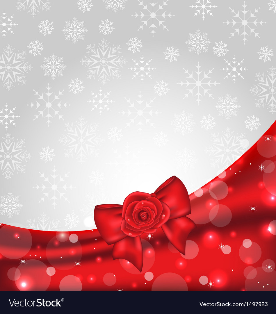 Festive background with gift bow and rose vector | Price: 1 Credit (USD $1)