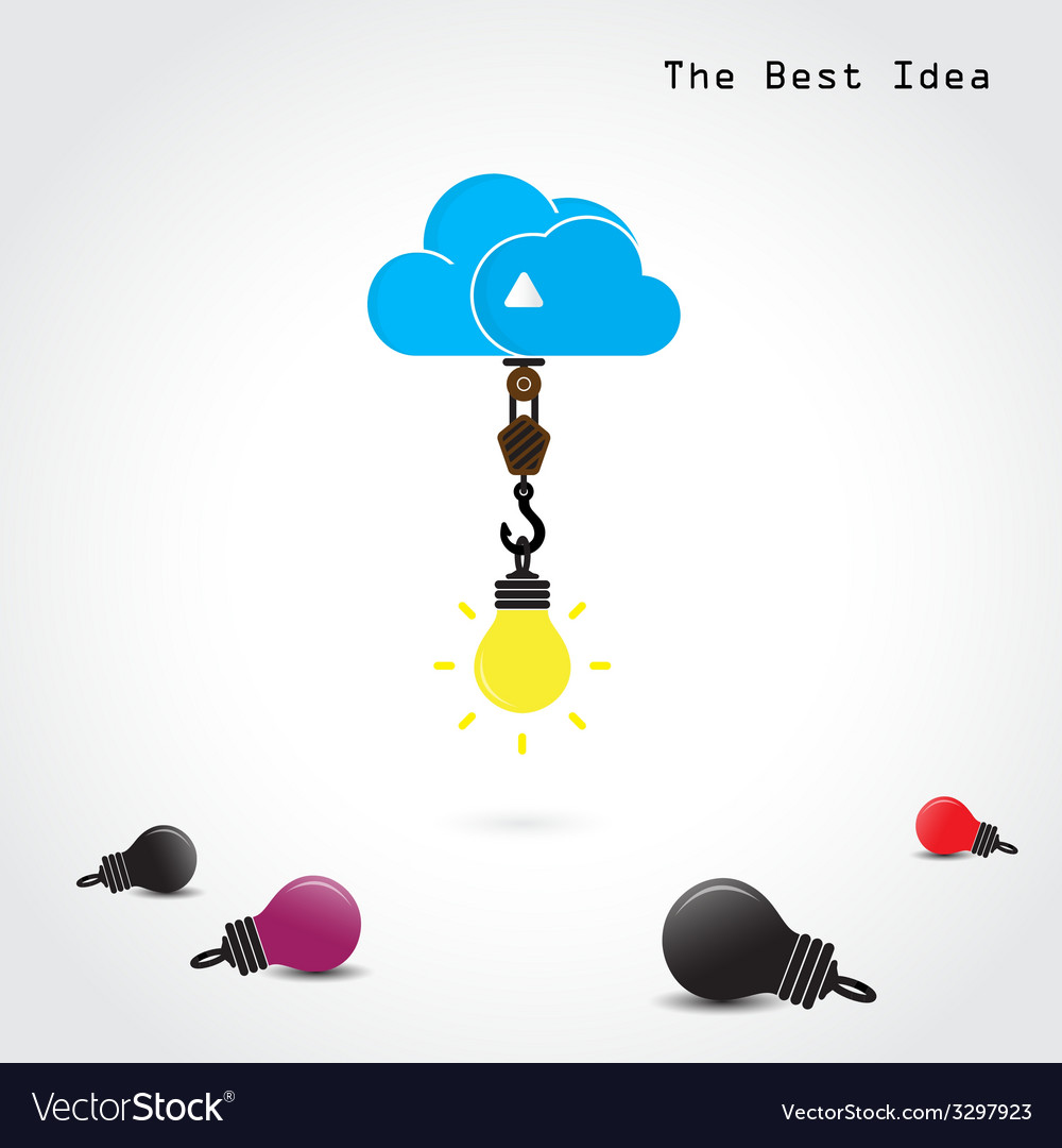 Flat cloud and creative bulb vector | Price: 1 Credit (USD $1)