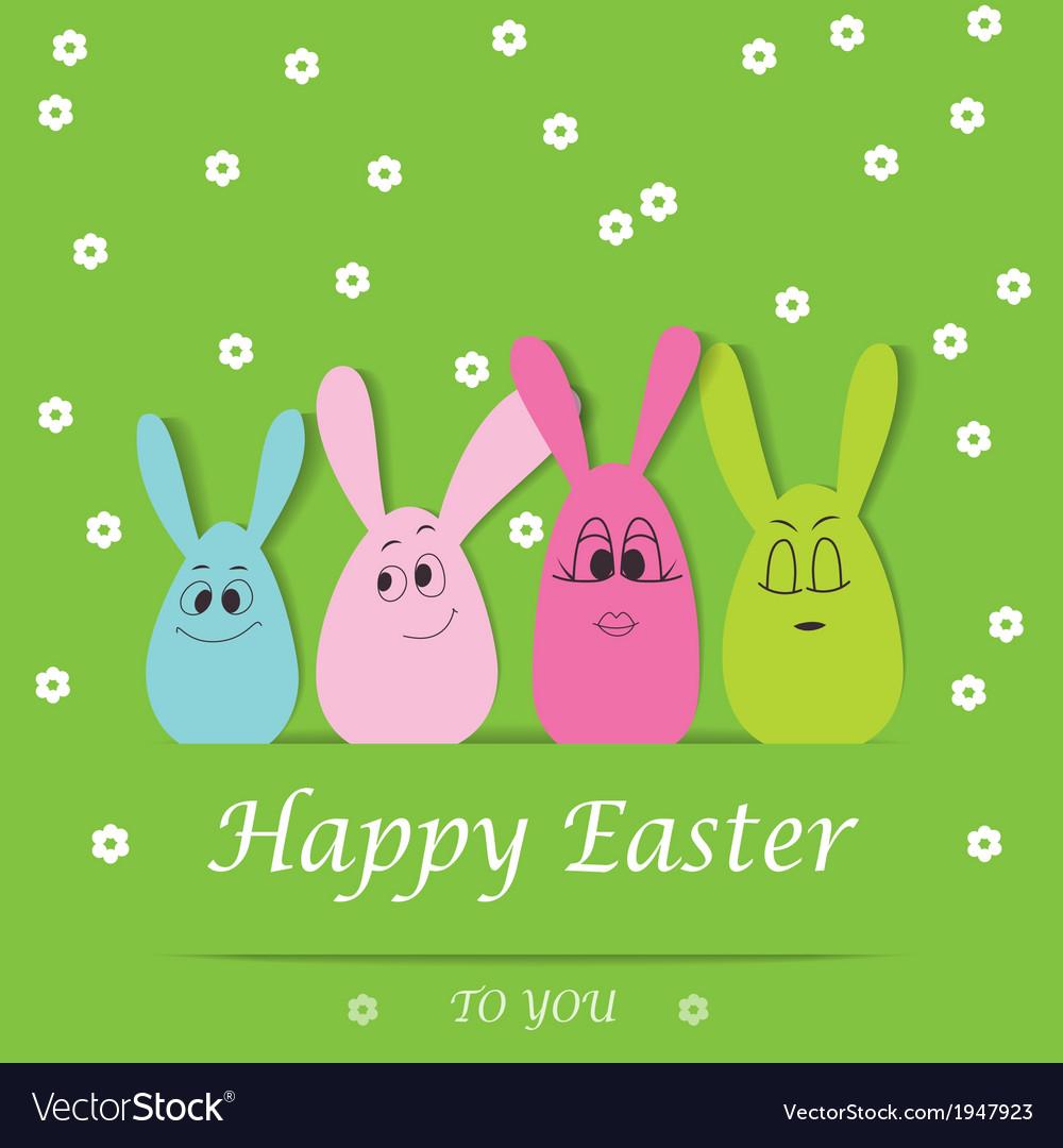 Happy easter bunny card vector | Price: 1 Credit (USD $1)