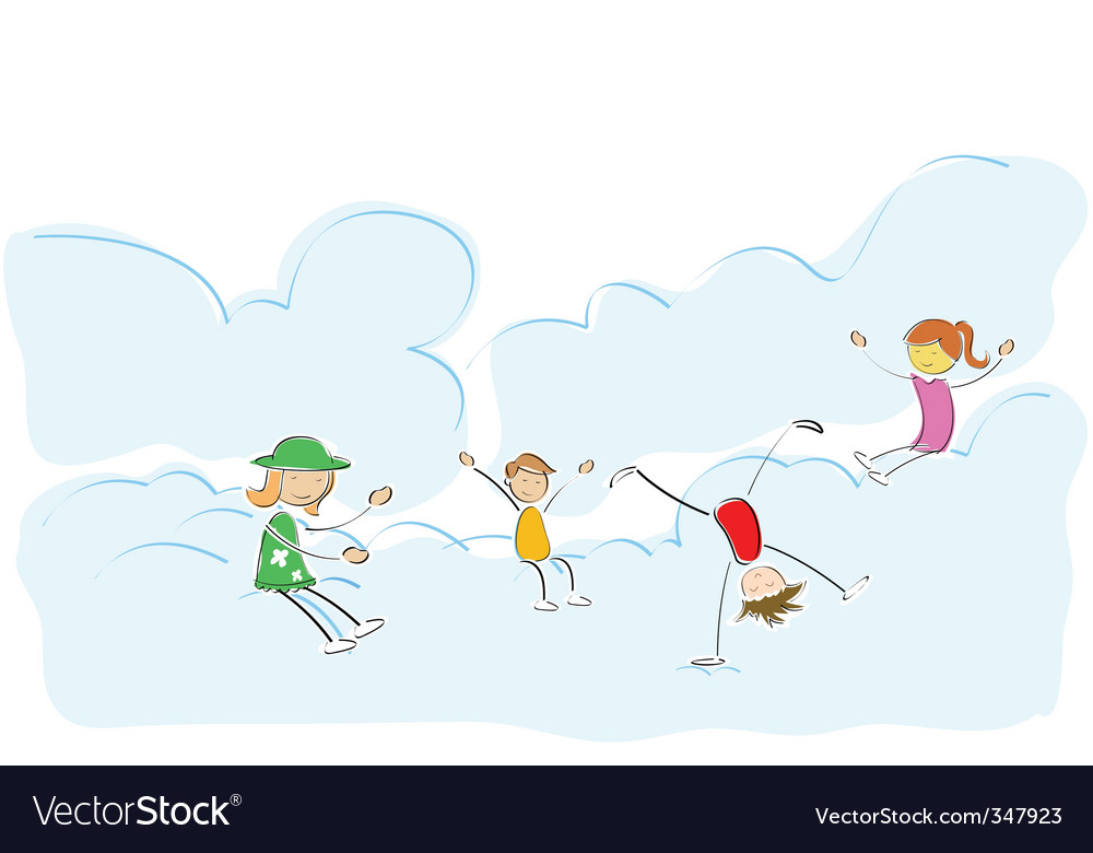 Kids playing on cloud vector | Price: 1 Credit (USD $1)