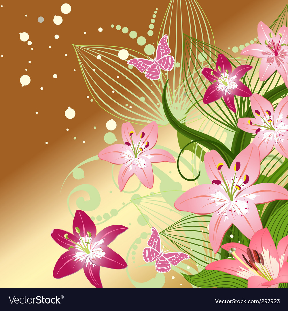 Lilies on an emerald background vector | Price: 1 Credit (USD $1)