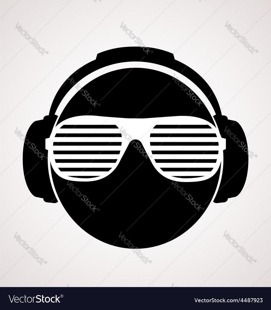 Men dj in headphone print vector