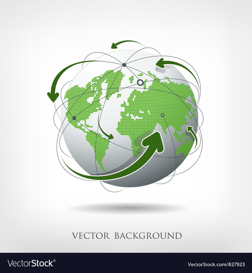 Modern green globe connections vector | Price: 3 Credit (USD $3)