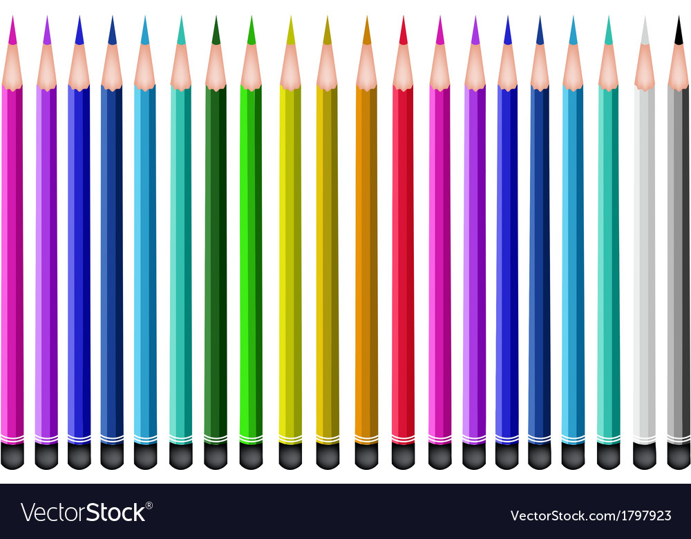 Set of colored pencils on white background vector | Price: 1 Credit (USD $1)