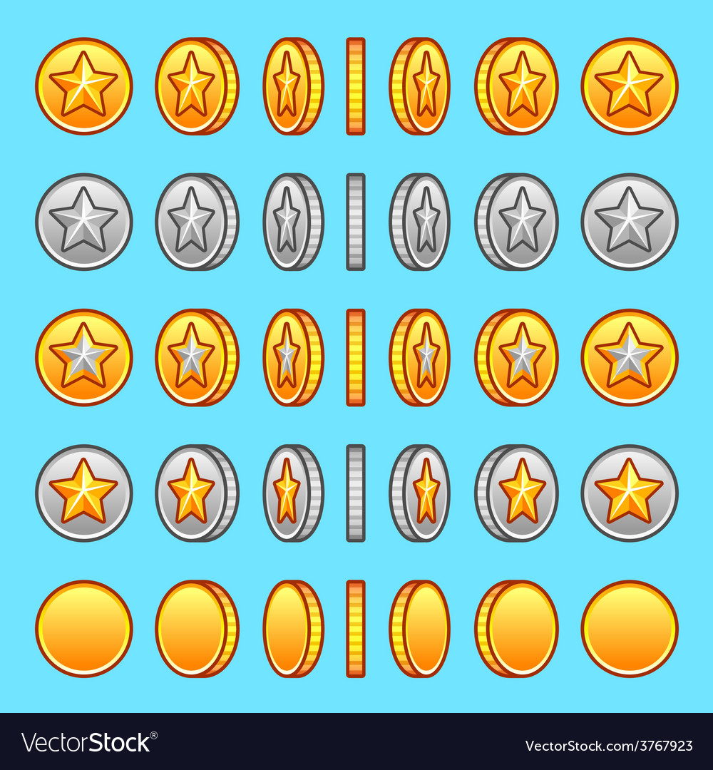 Star gold silver coins rotation set vector | Price: 1 Credit (USD $1)
