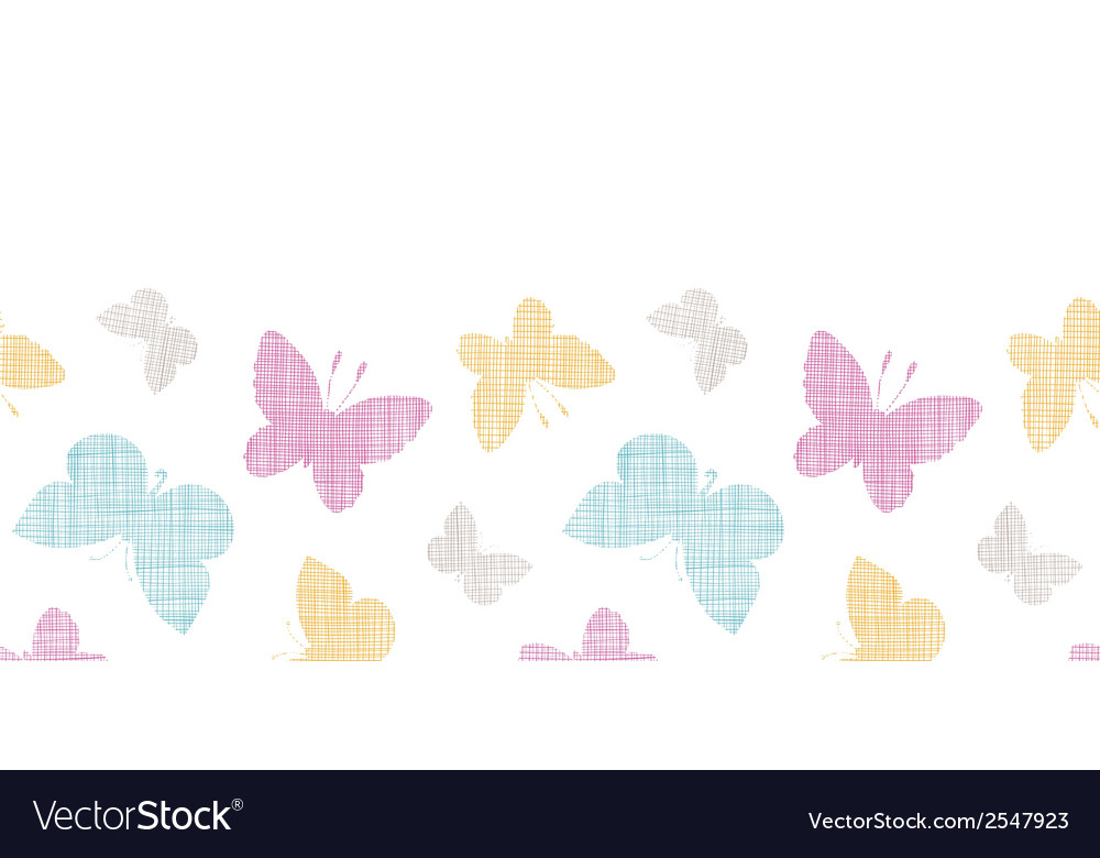Textile textured colorful butterflies horizontal vector | Price: 1 Credit (USD $1)