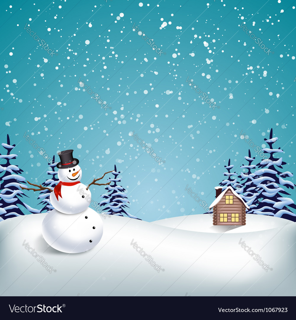 Winter christmas landscape vector | Price: 1 Credit (USD $1)