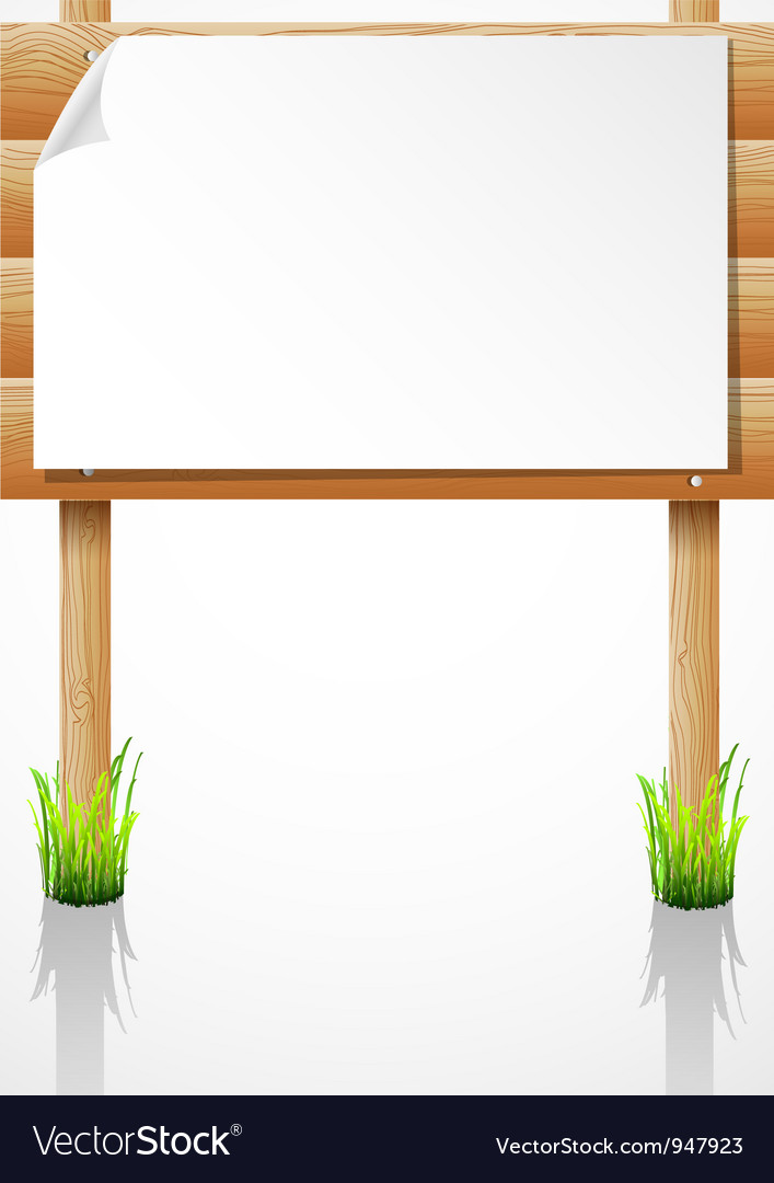 Wooden notice board with grass vector | Price: 1 Credit (USD $1)