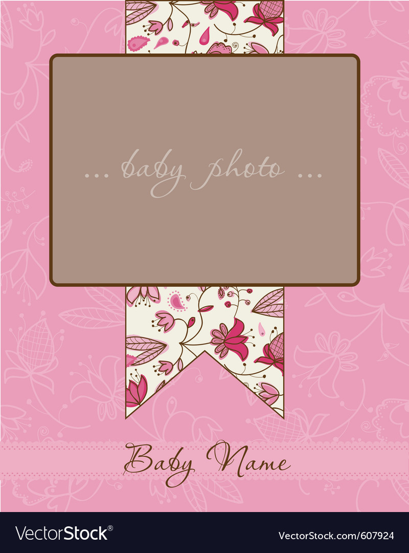 Baby girl arrival card with frame vector | Price: 1 Credit (USD $1)