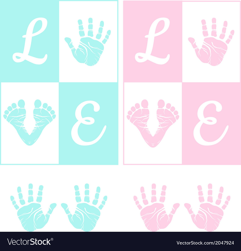 Baby hand print and footprint vector | Price: 1 Credit (USD $1)