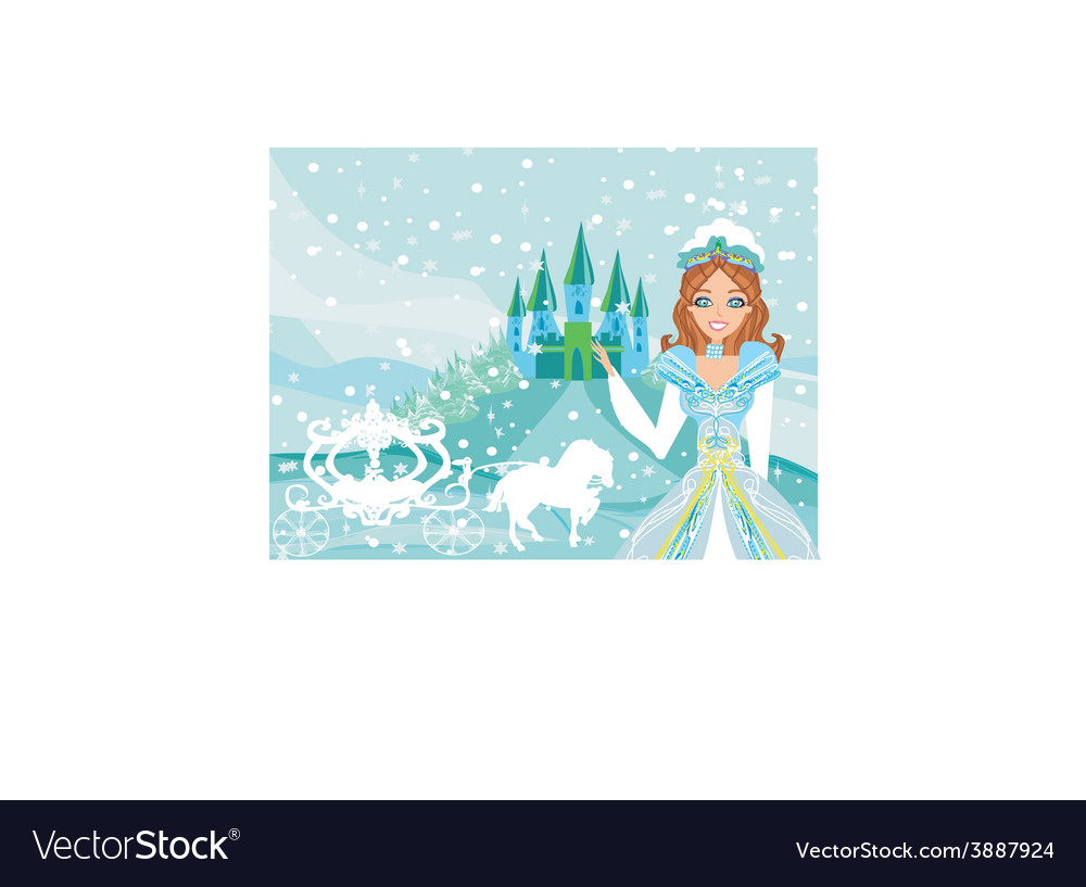 The beautiful princess is waiting for carriage vector | Price: 1 Credit (USD $1)