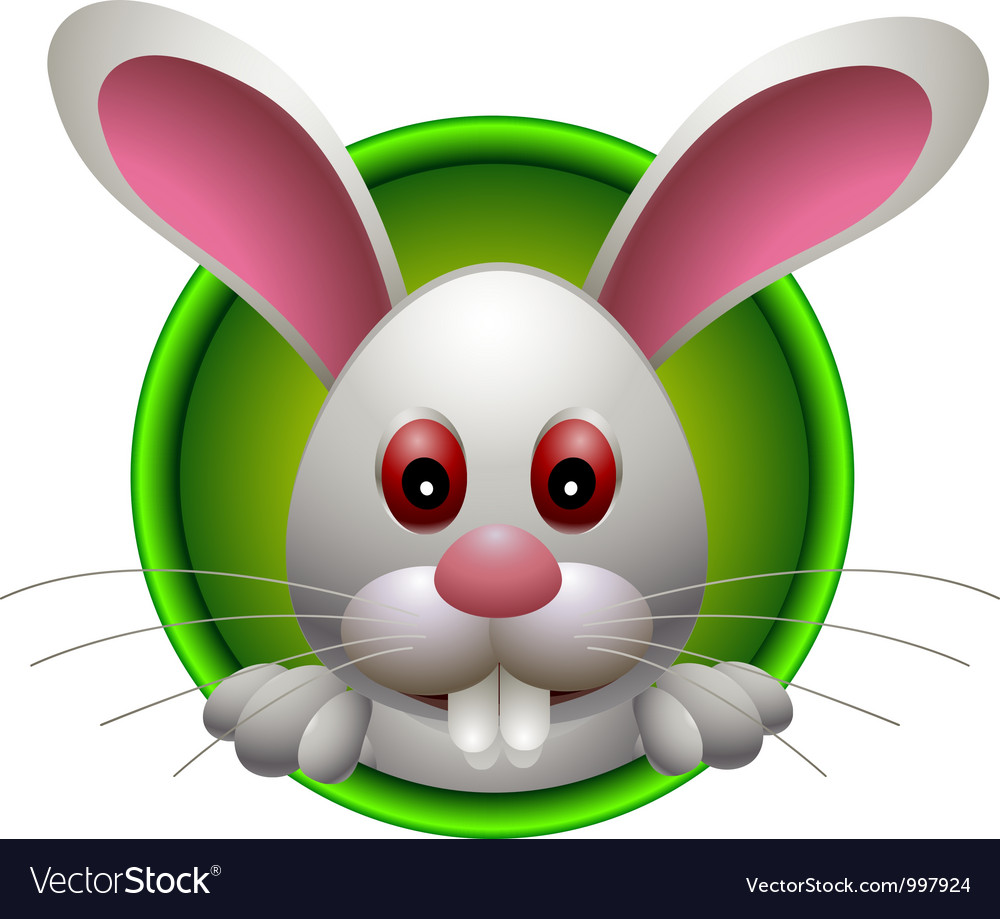 Cute rabbit head cartoon vector | Price: 3 Credit (USD $3)