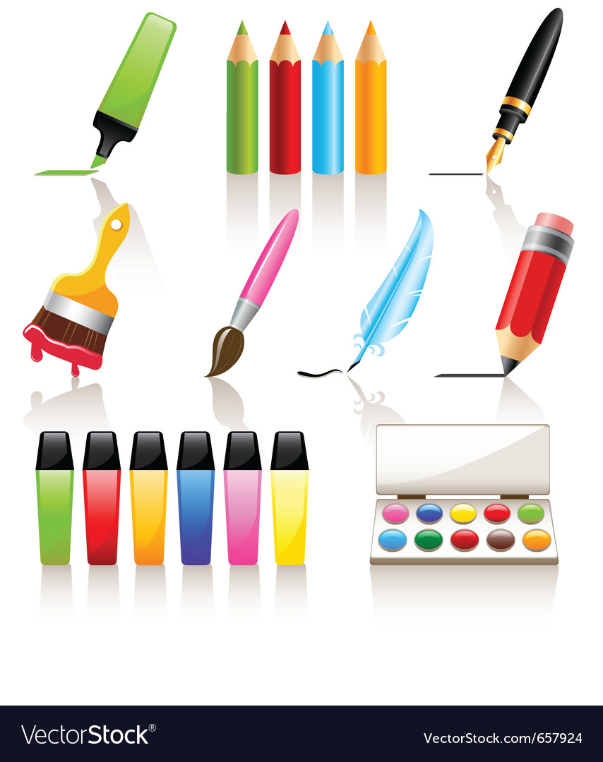 Drawing and painting tools vector | Price: 3 Credit (USD $3)