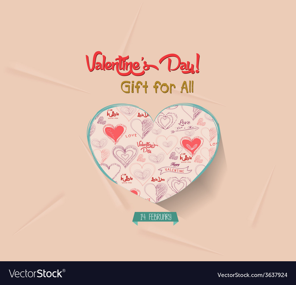 Happy valentines day greeting card gift for all vector   Price: 1 Credit (USD $1)