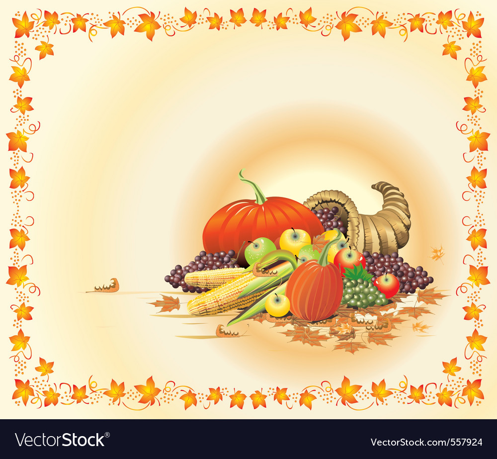 Hot and bright thanksgiving postcard vector | Price: 1 Credit (USD $1)