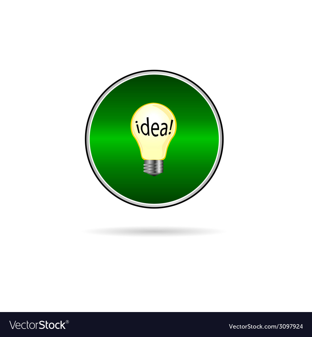 Idea in buld icon on green circle vector   Price: 1 Credit (USD $1)