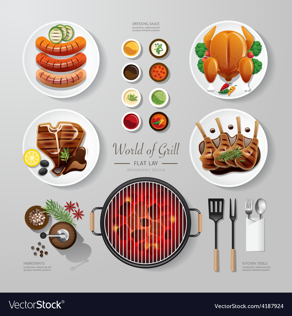 Infographic food grill bbq roast steak flat lay vector | Price: 1 Credit (USD $1)