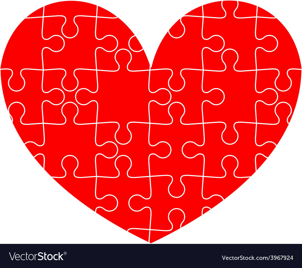Jigsaw puzzle in the red heart vector | Price: 1 Credit (USD $1)
