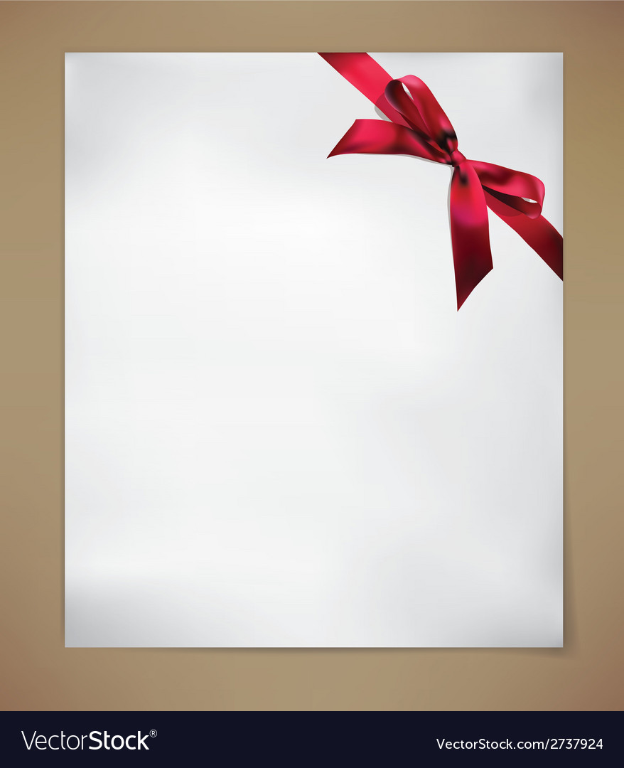 Paper card with red bow vector | Price: 1 Credit (USD $1)