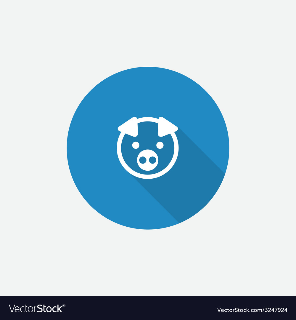 Pig flat blue simple icon with long shadow vector | Price: 1 Credit (USD $1)