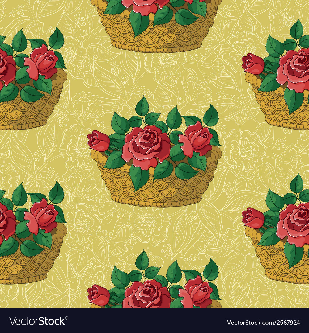 Seamless floral pattern basket with roses vector | Price: 1 Credit (USD $1)