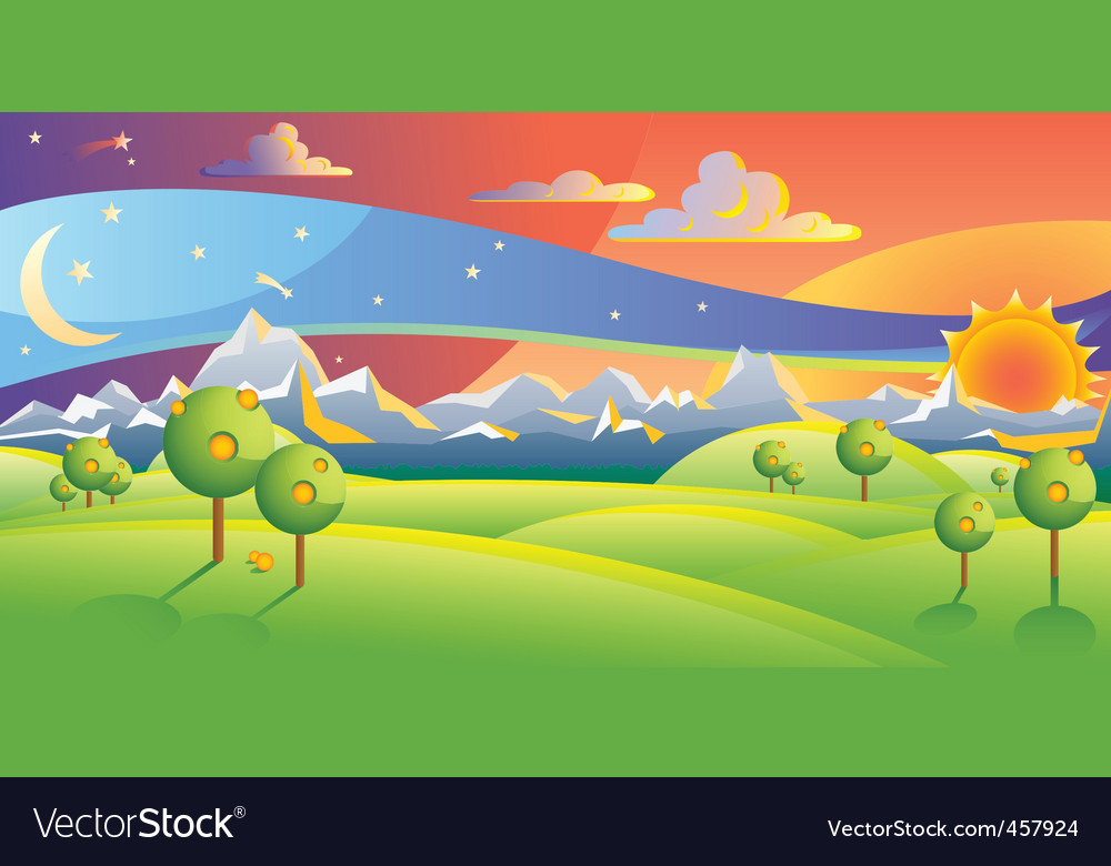 sunset landscape vector illustration vector | Price: 1 Credit (USD $1)